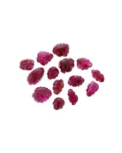 13 x 8 mm-Medium Red, Unheated Burma Ruby Leaf Carvings- 14 Pieces- 52.22 carats (RCar1038)