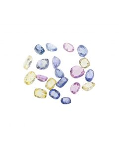 12 x 8 mm- Medium Tones, Multi-Sapphire Mixed Shape and Color Cut Stones- 22 Pieces- 70.33 carats (MSCS1045)