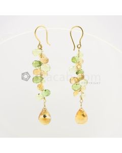 6.50 to 11 mm - Citrine and Peridot Drop Earrings - 36.00 carats (CSEarr1039)
