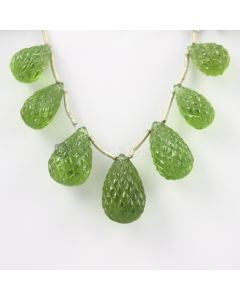 15 to 20 mm - Dark Green Peridot Carved Drops - 106.00 carats (PDr1038)-OOS