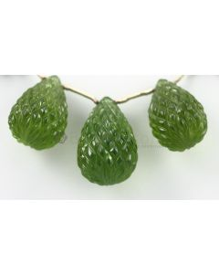 21 to 24 mm - Dark Green Peridot Carved Drops - 121.00 carats (PDr1039)-OOS