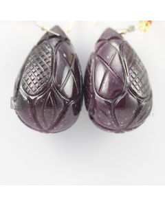 33 mm - Dark Red Ruby Carved Drops - 250.00 carats (RDr1026)