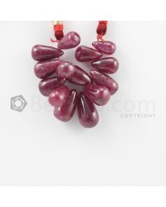 9.50 to 11.50 mm - Dark Red Ruby Drops - 40.50 carats (RDr1038)