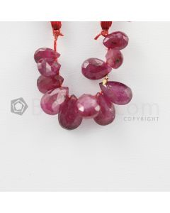 7.50 to 9 mm - Dark Red Ruby Faceted Drops - 18.50 carats (RDr1035)