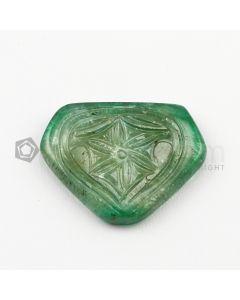 24 x 30 mm - Medium Green Emerald Carving - 1 piece - 28.10 carats (EmCar1088)