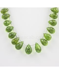 11 to 15 mm - Medium Green Peridot Faceted Drops - 139.00 carats (PDr1001)