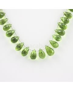 8 to 12 mm - Medium Green Peridot Faceted Drops - 102.00 carats (PDr1004)