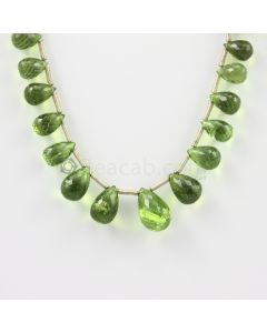 9.50 to 15 mm - Medium Green Peridot Faceted Drops - 94.00 carats (PDr1013)
