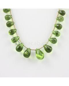 9.50 to 15 mm - Medium Green Peridot Faceted Drops - 94.00 carats (PDr1013)