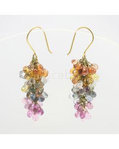 3.50  to 4 mm - Multi-Sapphire Drop Earrings - 48.00 carats (CSEarr1002)