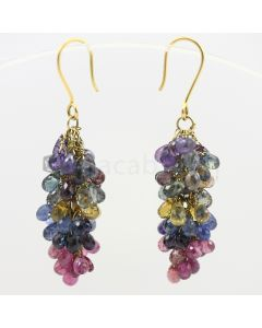 3 to 4 mm - Multi-Sapphire Drop Earrings - 52.18 carats (CSEarr1011)