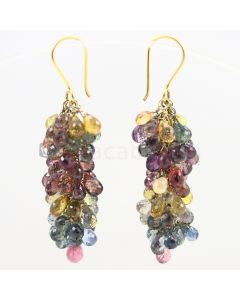 4 to 5 mm - Multi-Sapphire Drop Earrings - 84.00 carats (CSEarr1012)