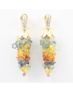 3 mm - Multi-Sapphire Drop Earrings - 75.50 carats (CSEarr1027)