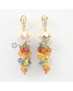 3 mm - Multi-Sapphire Drop Earrings - 78.50 carats (CSEarr1028)
