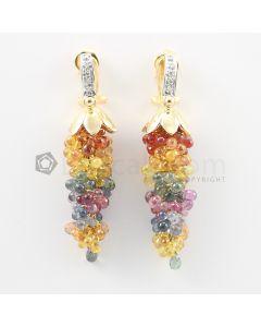 3 mm - Multi-Sapphire Drop Earrings - 75.50 carats (CSEarr1030)