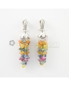 3 mm - Multi-Sapphire Drop Earrings - 73.50 carats (CSEarr1031)