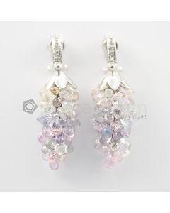 3 to 4 mm - Multi-Sapphire Drop Earrings - 92.00 carats (CSEarr1034)