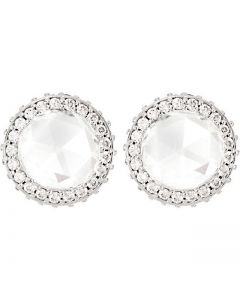 6.50 mm White Rose Cut Diamond Stud Earrings set in Platinum