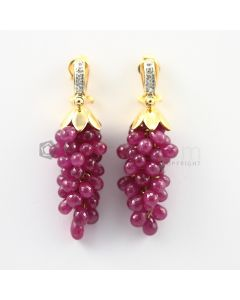 4 to 5 mm - Ruby Drop Earrings - 83.00 carats (CSEarr1024)