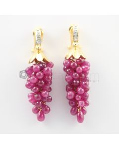 4 to 5 mm - Ruby Drop Earrings - 95 carats (CSEarr1025)
