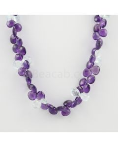 8 to 10.50 mm - 1 Line - Amethyst and Aquamarine Drops Necklace  - 200.50 carats (CSNKL1140)
