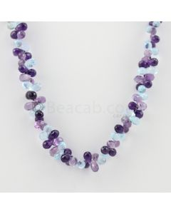 6 to 7 mm - 1 Line - Amethyst and Blue Topaz Drops Necklace  - 185.50 carats (CSNKL1139)
