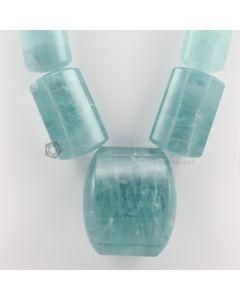 30 to 70 mm - 1 Line - Tumbled Aquamarine Beads - 3147.00 carats (AqTuB1062)