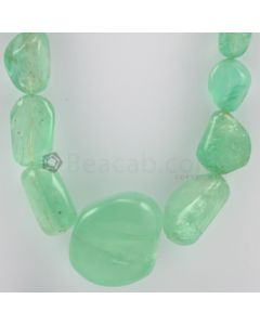 15 to 40.00 mm - 1 Line - Emerald Tumbled Beads - 1239.00 carats (EmTuB1029)