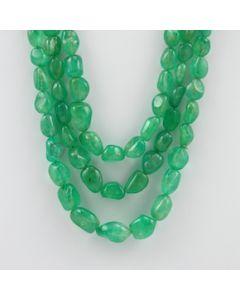 8.00 to 16.50 mm - 3 Lines - Emerald Tumbled Beads - 539.00 carats (EmTuB1049)