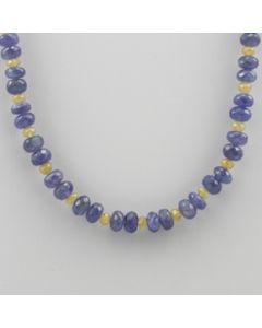 Yellow Sapphire, Tanzanite Faceted - 1 Line - 156.27 carats - 16 inches - (CSNKL1018)