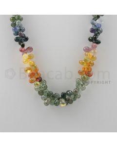 Multi Sapphire Briolettes - 1 Line - 238.50 carats - 18 inches - (MSDF1008)