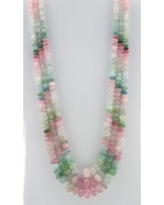 Multi-Tourmaline Roundel Beads - 3 Lines - 913.30 carats - 19 to 22 inches - (MTour1001)