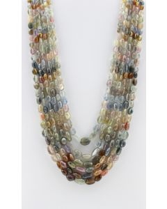 Multi-Sapphire Tumbled Beads - 6 Lines - 754.75 carats - 15 to 19 inches - (MSTuB1036)