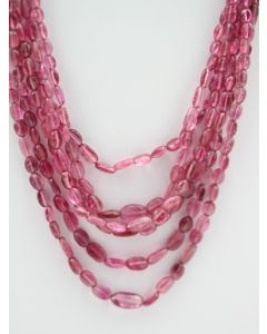 Pink Tourmaline Long Tumbled Beads - 6 Lines - 218.50 carats - 18 to 21 inches - (ToTub1002)