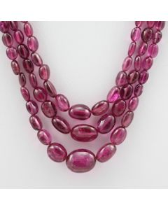 Pink Tourmaline Long Tumbled Beads - 3 Lines - 148.20 carats - 16 to 18 inches - (ToTub1016)