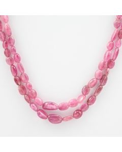 Pink Tourmaline Long Tumbled Beads - 2 Lines - 94.00 carats - 19 to 20 inches - (ToTub1020)