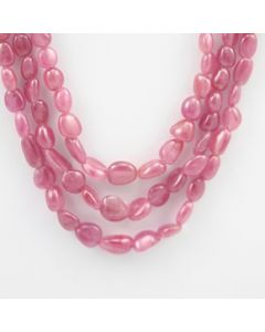 Pink Sapphire Tumbled - 3 Lines - 319.00 carats - 15 to 17 inches - (PnSTuB1006)