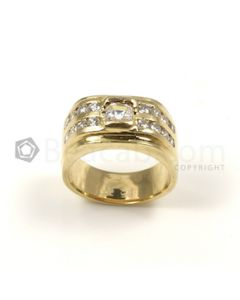Round Shape White Diamond Ring in 14kt Yellow Gold - 14.5 grams - EST1233