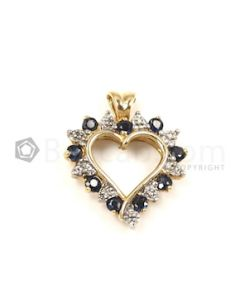Heart Shape White, Blue Diamond, Sapphire Pendant in 14kt Yellow Gold - 2.4 grams - EST1335