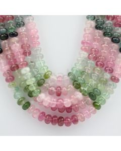 Multi-Tourmaline Roundel Beads - 5 Lines - 825.75 carats - 15 to 20 inches - (MTour1005)
