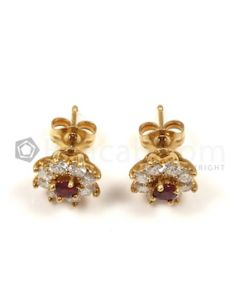 Round Shape White, Red Diamond, Ruby Earrings in 14kt Yellow Gold - 2.6 grams - EST1363