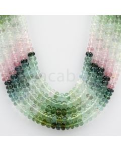 Multi-Tourmaline Roundel Beads - 5 Lines - 455.15 carats - 18 to 20 inches - (MTour1010)