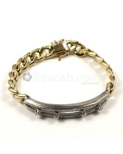 Round Shape White Diamond Bracelet in 14kt Yellow Gold - 24 grams - EST1393