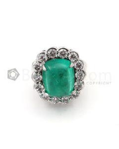 Sugarloaf Emerald Cabochon & Diamond Ring in 18kt White Gold - EST1425