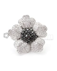 18kt White Gold Black and White Diamond Ladys Brooch - EST1429