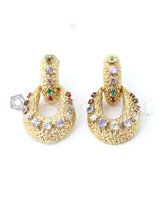 18kt Yellow Gold and Multi-Color Lady's Drop Earrings, Pair  - EST1441