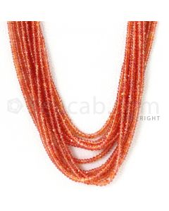 6 Lines - 2.7 to 3.7 mm - Dark Orange Sapphire Faceted Beads - 558.05 cts. (OSFB1008)