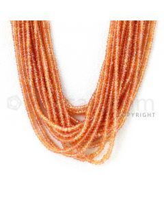 18 Lines - 2.7 to 3.3 mm - Medium Orange Sapphire Faceted Beads - 925.50 cts. (OSFB1012)