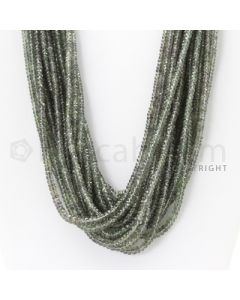 12 Lines - 2.6 to 3.7 mm - Light Green Sapphire Faceted Beads - 570.00 cts. (GSFB1012)