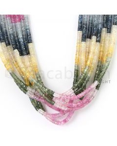8 Lines - 3.7 mm - Medium Tones Multi Sapphire Faceted Beads - 563.00 cts. (MSFB1038)
